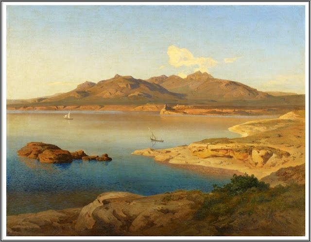 Bernhard Fries (1820-1879), Sud de l'Italie, la Côte dans la Lumière du Matin - 1848