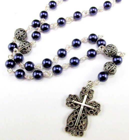 Anglican Prayer Beads with Midnight Blue Pearls by byBrendaElaine