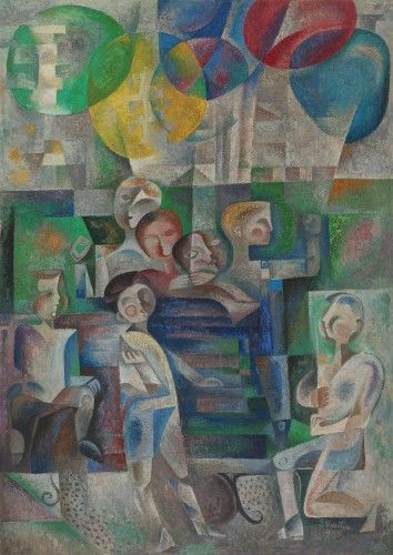 Children games [1965] SIMONA VASILIU CHINTILĂ 1928, Piatra Neamţ - 2009, Bucharest oil on canvas, 154 × 110 cm, signed and dated bottom right, in green, S. Vasiliu, (1)965 Valoare estimativă: € 2.000 - 3.000  Conservation status: for further technical details, do not hesitate to contact loredana.codau@artmark.ro
