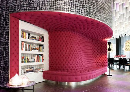 my own library: Ideas, Barcelo Raval, Dreams Houses, Design Interiors, Hotels Interiors, Interiors Design, Hot Pink, Pink Wall, Raval Hotels