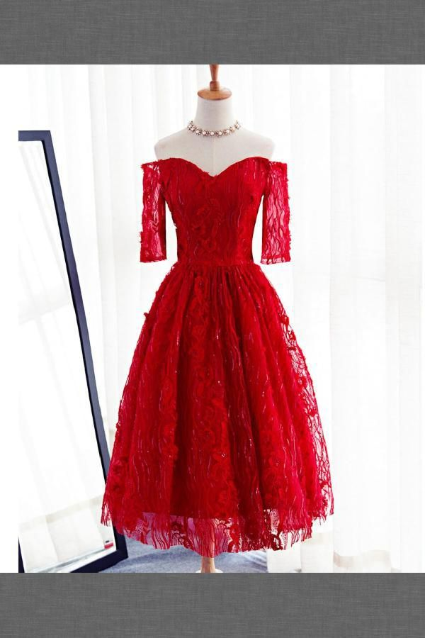 Prom Dress Lace Long Sleeves Prom Dress Prom Dress Short Cute Homecoming Short Red Prom Dresses Prom Dresses Long With Sleeves Lace Homecoming Dresses Short