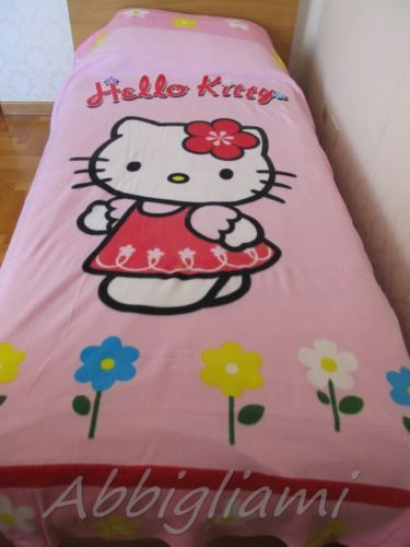 Copertina plaid letto singolo original hello kitty licenza Sanrio 160x240