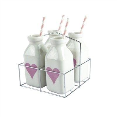 Salt and Pepper Carousel S/4 350ml Pink Heart Milk Bottles with Straws