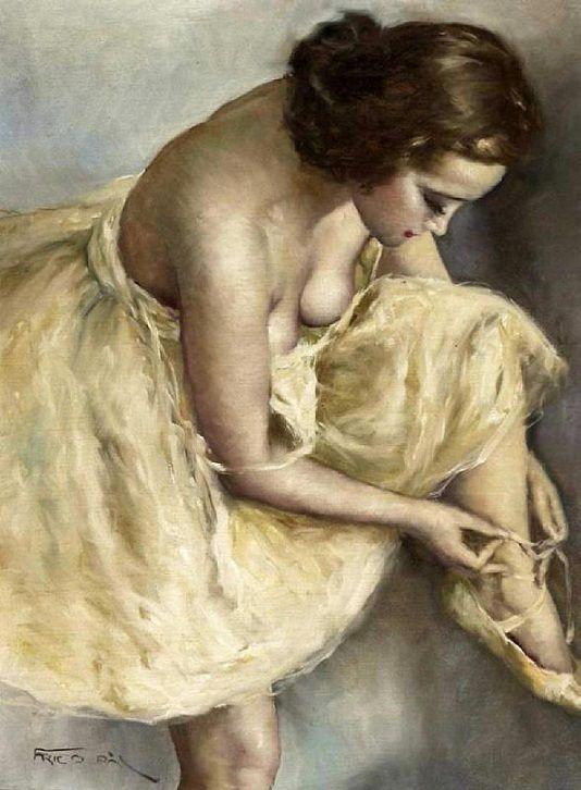 Pál Fried (Hungarian, 1893-1976): Ballerina (Oil on canvas)