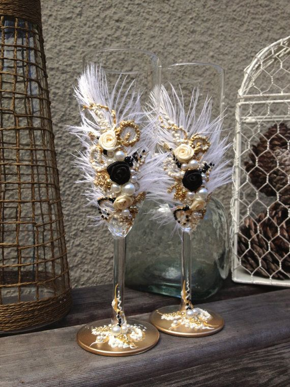 Great Gatsby wedding champagne glasses with by PureBeautyArt