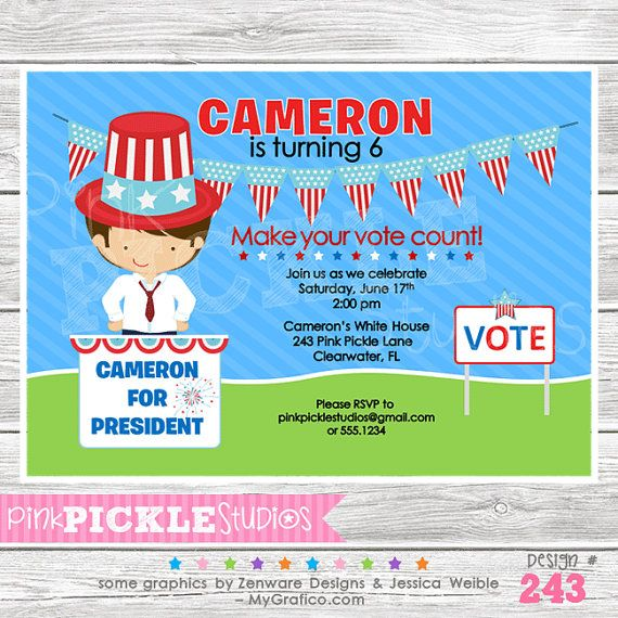 President 243... Birthday Party Invitation or by PinkPickleParties, $10.00