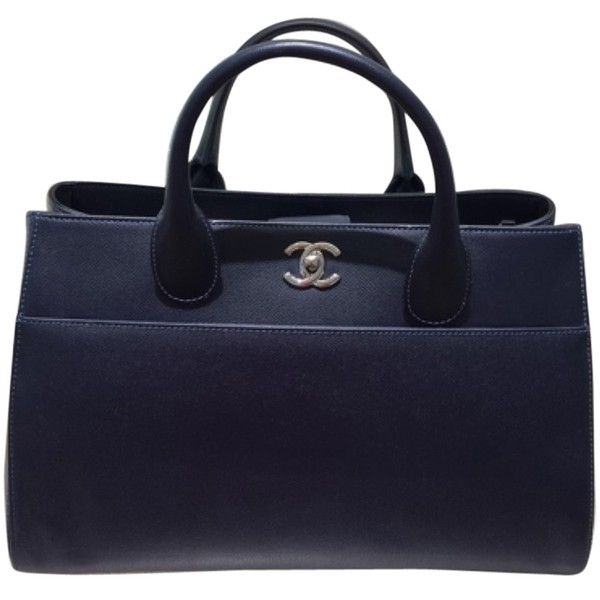 Pre-owned Chanel Large Executive Shopping Navy Blue Tote Bag ($3,400) ❤ liked on Polyvore featuring bags, handbags, tote bags, navy blue, blue tote, navy blue purse, handbags & purses, chanel purses and tote purse