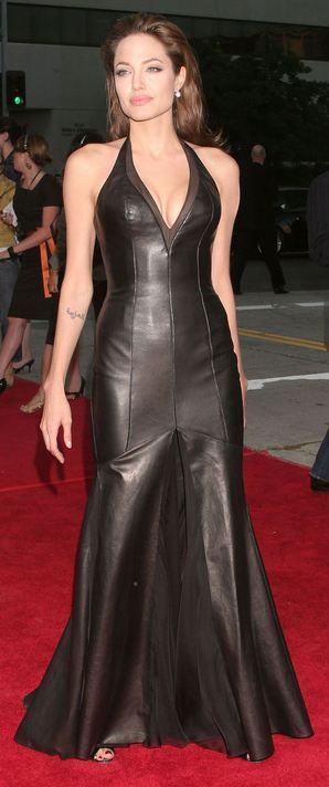 Angelina JolieGlamour Gowns, Dresses Shades, Carpets Gowns, Black Leather, Red Carpets, Leather Gowns, Leather Dresses, Gowns Fashion, Angelina Jolie Leather
