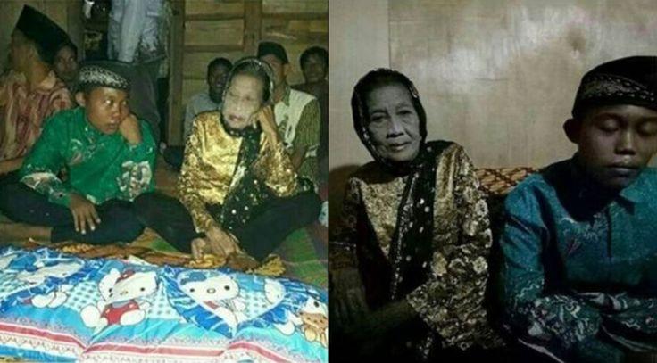 Pemuda 16 tahun dan nenek 71 tahun dinikahkan setelah mereka ugut bunuh diri jika cinta mereka tidak disatukan   Biarpunpada awalnya tidak dapat persetujuan keluarga namun cinta berputik dalam jiwa pasangan pengantin baharu ini membuktikan usia bukan penghalang untuk mereka sehidup semati.  Begitulah pendirian yang dipegang oleh pasangan Selamet Riyadi 16; dan Rohaya 71; yang nekad meneruskan niat untuk mendirikan rumah tangga meskipun jarak usia antara mereka adalah 55 tahun…