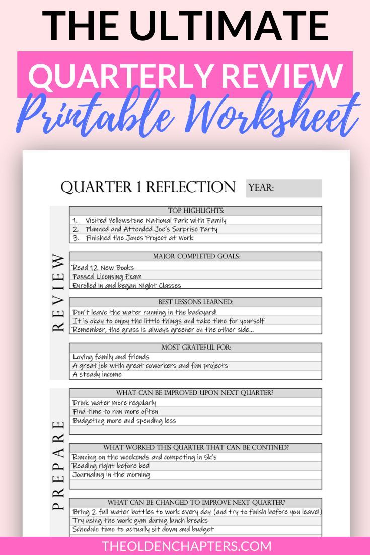 Quarterly Goal Review Printable Worksheets Quarterly