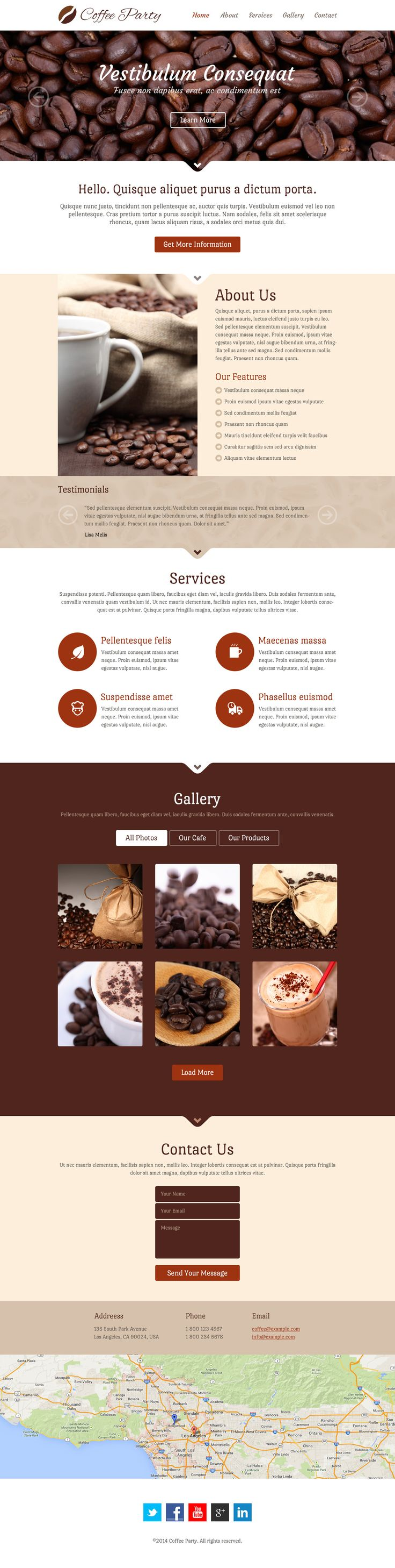 Get something great brewing with Coffee Party, a modern and responsive singlepage template with a Javabean theme. This features sections to list your services, a photo gallery to show off your cafe and products, and a contact section with a form, local information, and a fullwidth map. This template includes PSDs targeting tablets (768×1024) and phones (320×480).  http://www.templateblender.com/psd-templates/coffee-party-psd-template/