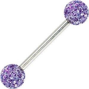 Purple Ultra Glitter Acrylic Barbell Tongue Ring (Jewelry) I miss my tongue piercing