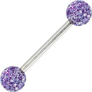 Purple Ultra Glitter Acrylic Barbell Tongue Ring (Jewelry) only if they had this for ur belly