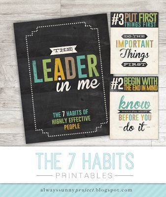 The Leader in Me, 7 Habits Posters, Free Printables for your classroom!