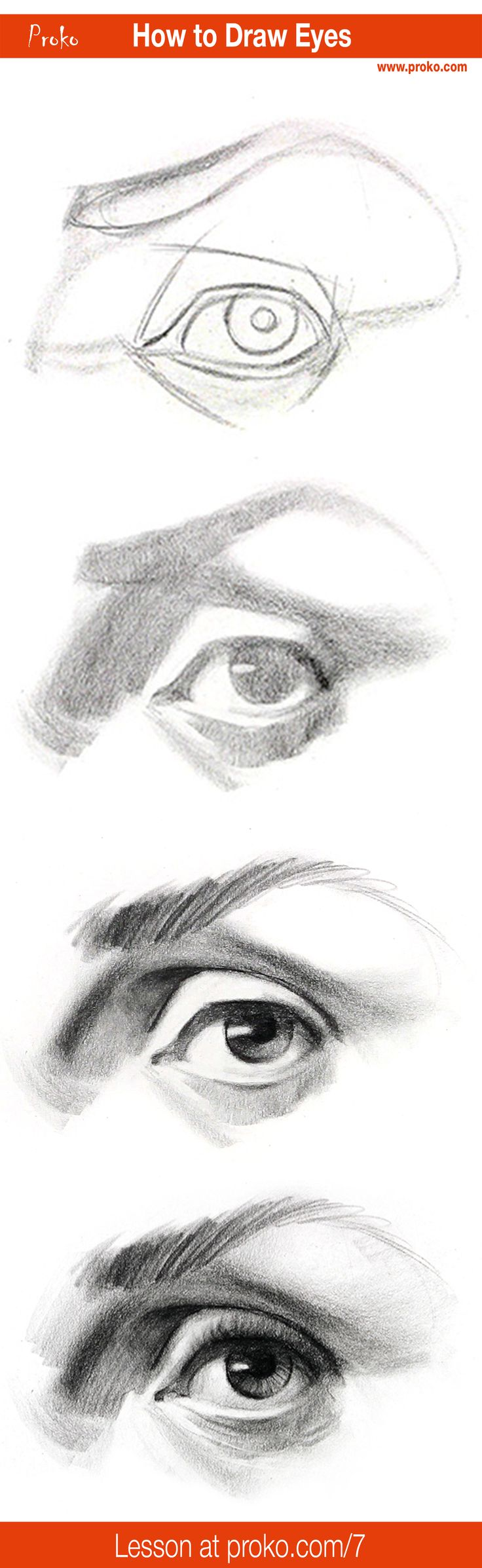 step by step on how to draw an eye