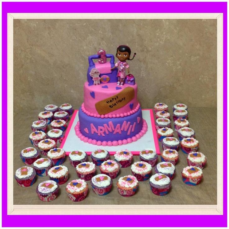 Dr. Mcstuffins Cake and cupcakes