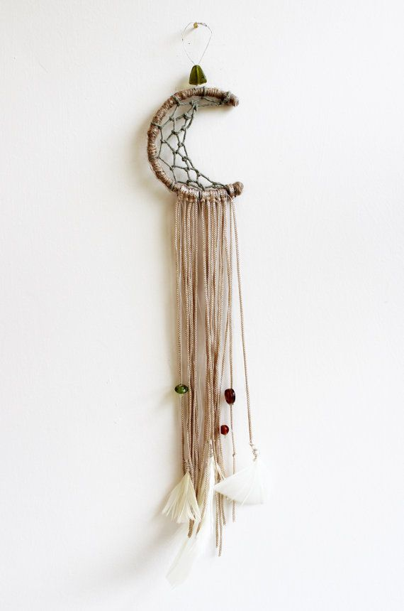 Moon Dream Catcher, Bohemian, Custom Size, Wall Decor, Car Mirror, Feathers, Beads, Lace, Boho, Gypsy Chic, Room Decor, Wall Hanging
