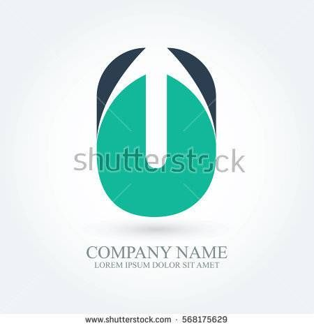 initial letter u creative circle logo typography design for brand and company identity. green and dark blue color