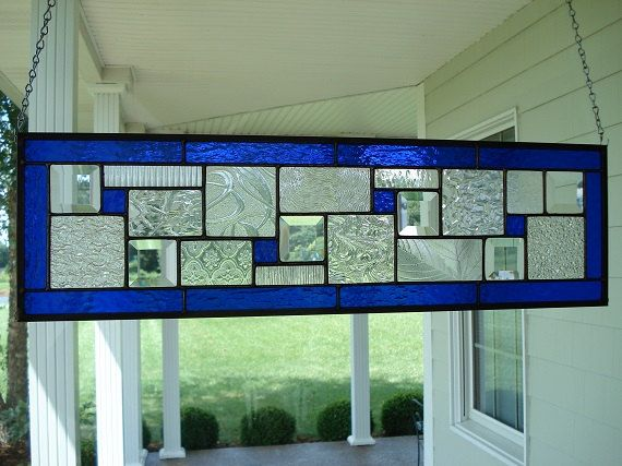 Stained Glass Panel Deep Blue Window Transom by TheGlassShire, $103.00