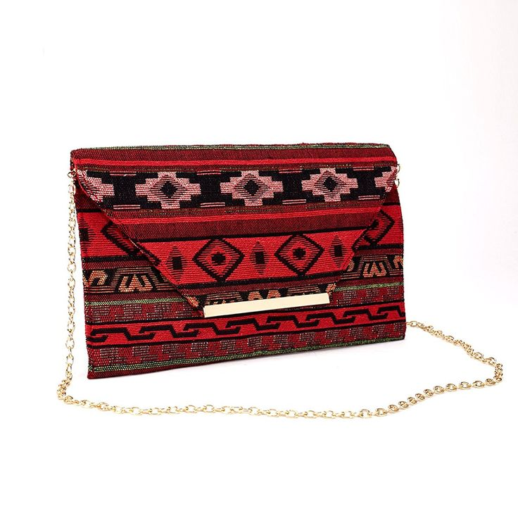 Aris Bohemian Southwestern Navajo Tribal Multi Color Clutch Bag Purse Chain Strap -- Wow! I love this. Check it out now! : Handbag Clutches