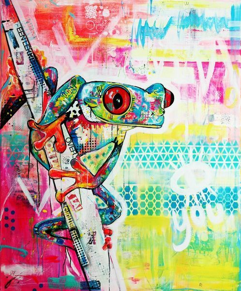 Free like a frog - a print of my painting - acrylic and mixed media on canvas - Janet Edens