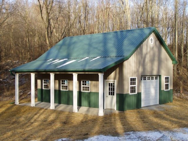 Burly oak builders 24 39 x 32 39 x 12 39 with lean to porch for Metal garage with porch