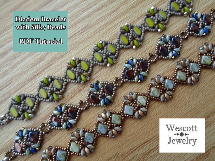 Pattern for Diadem Bracelet with Silky Beads and SuperDuos par WescottJewelry sur Etsy https://www.etsy.com/ca-fr/listing/206712066/pattern-for-diadem-bracelet-with-silky