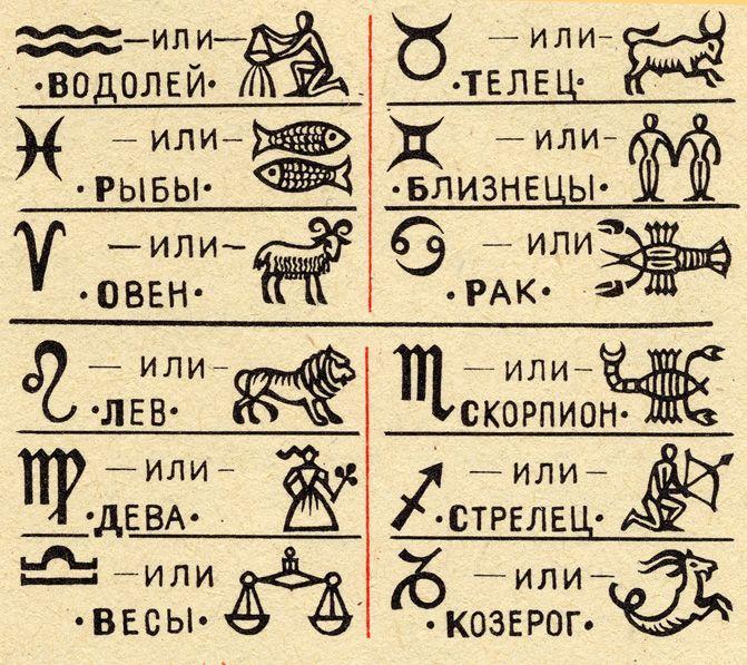 Обозначения знаков зодиака картинки небольшого