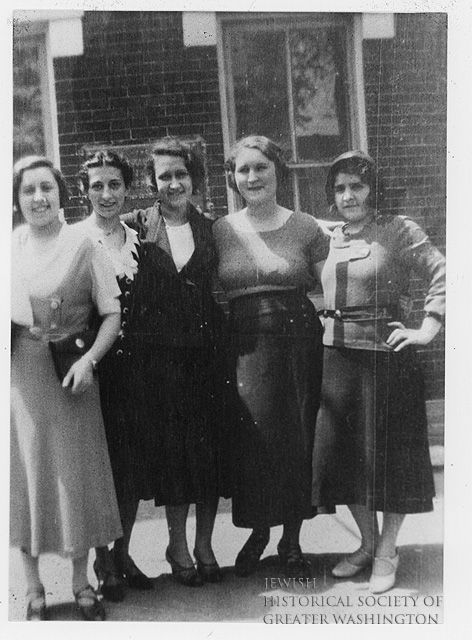 Teachers at the Juanita K. Nye House (run by the National Council of Jewish Women) on Sixth Street, SW, Washington, D.C., where Jewish immigrant children attended religious school. 1930  L to R: Rose Lewis (Glaser), Myrtle Cohen, Edith Chidakel (Pascal), Ruth Glazer, Mary Lewis.