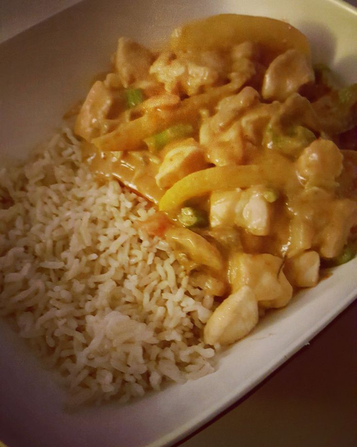 Chicken Satay with (microwave) brown rice, Salt and pepper chips g…