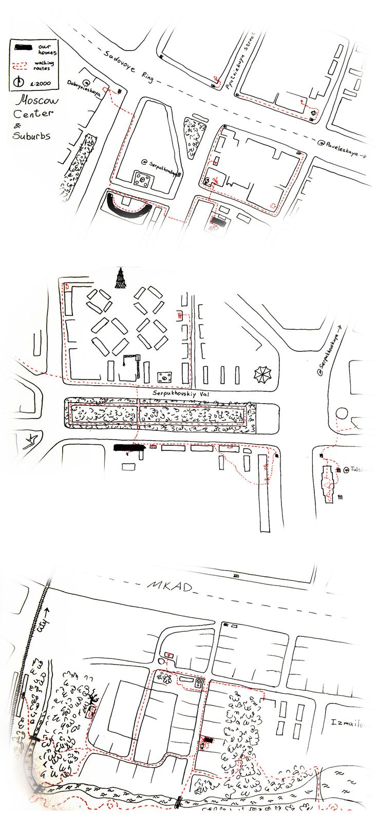 Week-1. Mental Map. Hi I'm Sasha Zyuzina. Recently graduated architect at BHSAD. My mental map is composed of 3 main parts of Moscow and suburbs that i most oftenly visit these days: our home, kids school, their granny in the city, their granny at the suburbs.