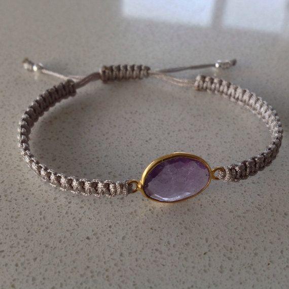 Amethyst macrame bracelet semiprecious by keepcalmandbeadon, £12.00