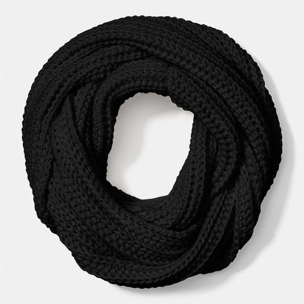 Coach Solid Chunky Infinity Scarf ($95) ❤ liked on Polyvore featuring accessories, scarves, black, black infinity scarves, lightweight infinity scarf, black shawl, infinity loop scarves and infinity scarf