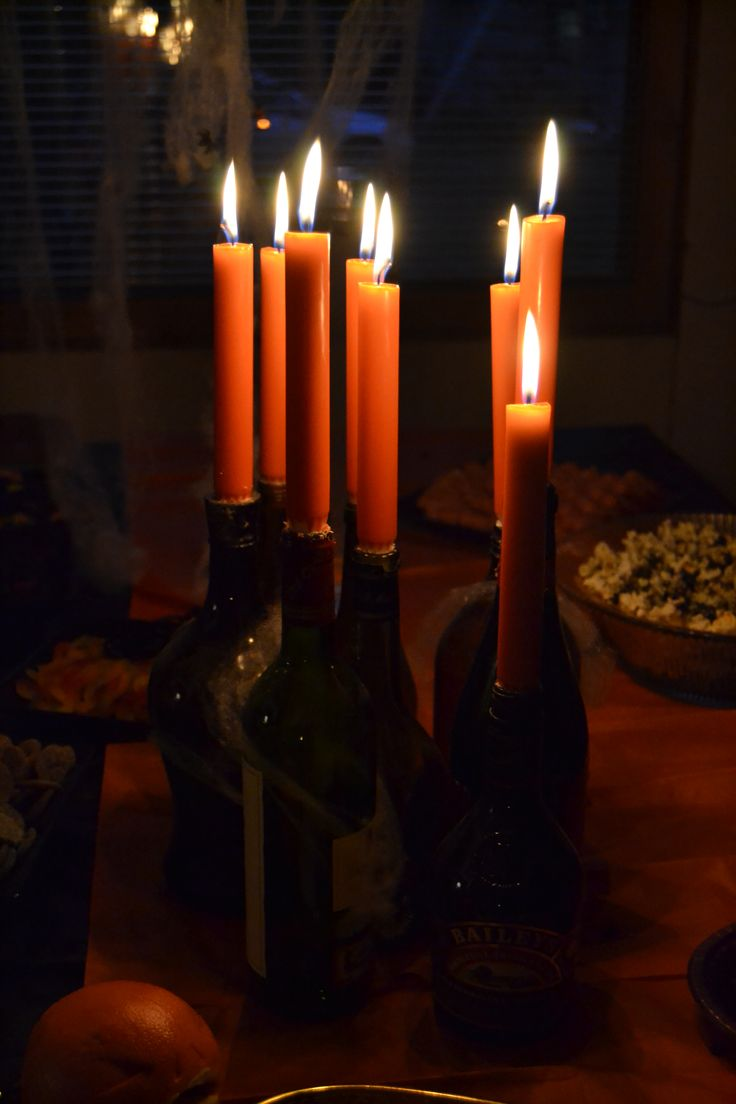 Candlesticks made by empty bottles
