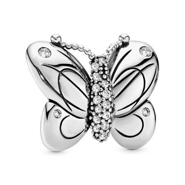 Gold Plated Sterling Silver Floating Open Butterfly Charm Butterflies Insect