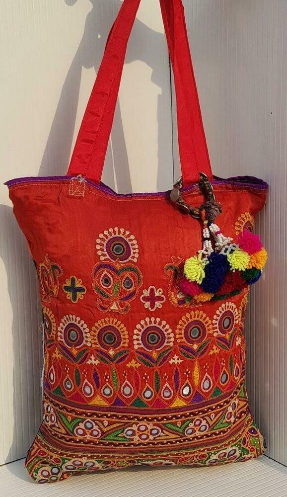 Vintage Hmong Tribal Ethnic Embroidery Shoulder Bag Boho Tassel Bead Decoration