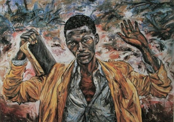 The Preacher by George Gittoes, official artist with the Australian Defence Force, Rwanda 1995.