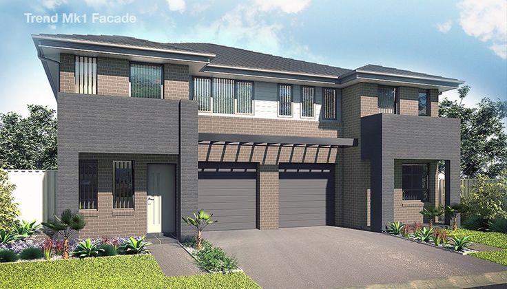 Проект двухэтажного жилого дома, дуплекс  с летней террасой и гаражом для одного автомобиля, Mk1-100399