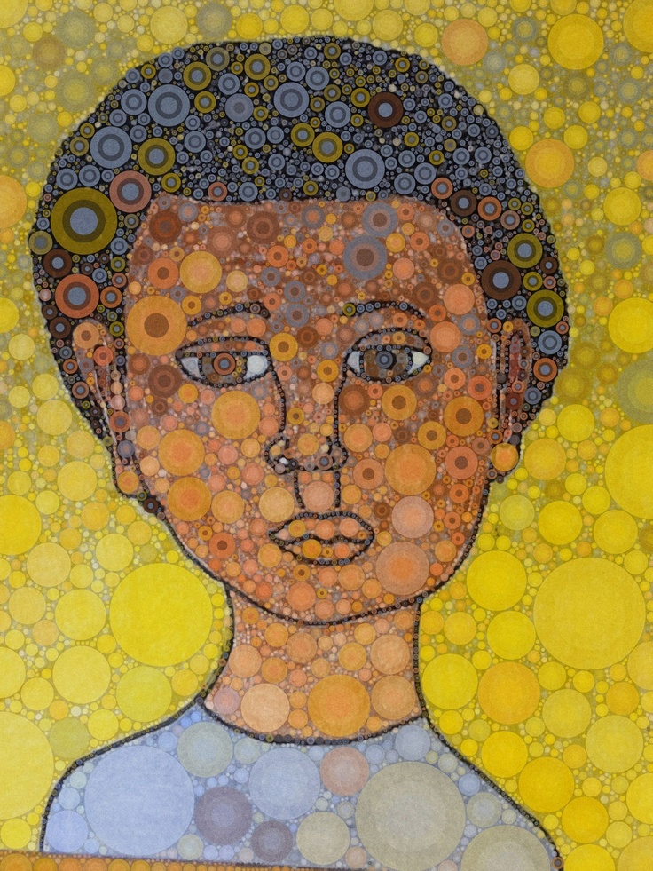 Self Portrait - 5th grade Shape as pattern. REPTITION WITH VARIATION. SIZE