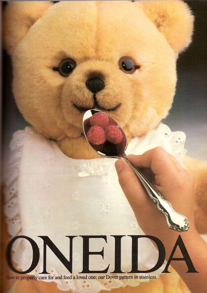 1987 Oneida Cutlery Silverware Teddy Bear Print Advertisement Vintage VTG 80s #Oneida
