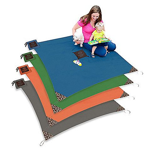 A true portable floor, Monkey Mat provides a large, clean surface that can be used in- and outdoors. Made of soft, durable, and water-repellent nylon,  perfect for picnics, the beach, concerts, and more. super-lightweight and comes with a pouch.