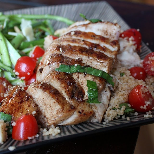 Balsamic chicken with caprese cous cous