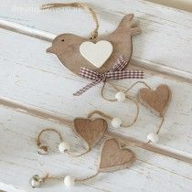 Dangly Bird & Hearts -Natural Wood