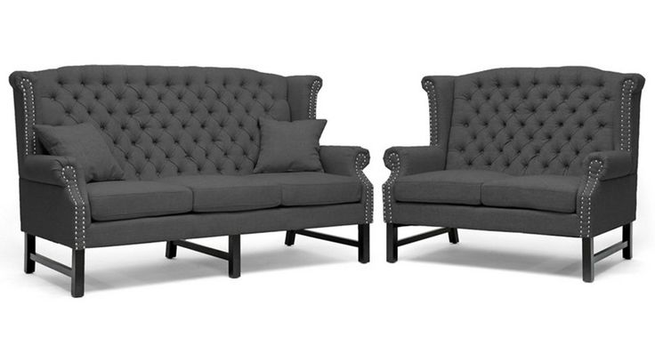 Wholesale Interiors - Baxton Studio Sussex Dark Gray Linen Sofa Set - BH-63102-Grey Sofa Set