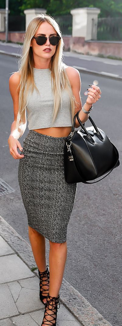 Cute Pencil Skirt + Crop Top #NaaiAntwerp - Best 20+ Gray Pencil Skirts Ideas On Pinterest Gold Price For