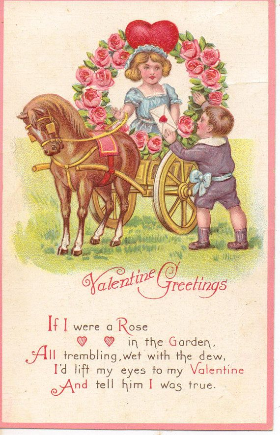 Valentine Greetings Vintage Postcard Girl in by OldFangledFinds
