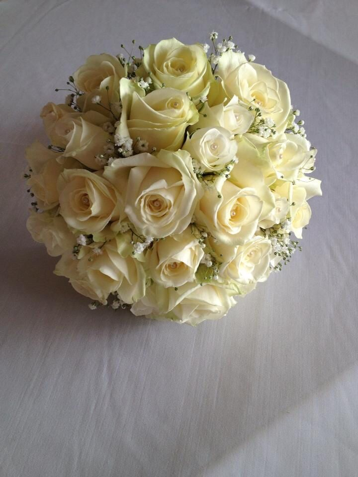 Ivory cream rose bride bouquet. Perfection ! Chanan's Floral Events