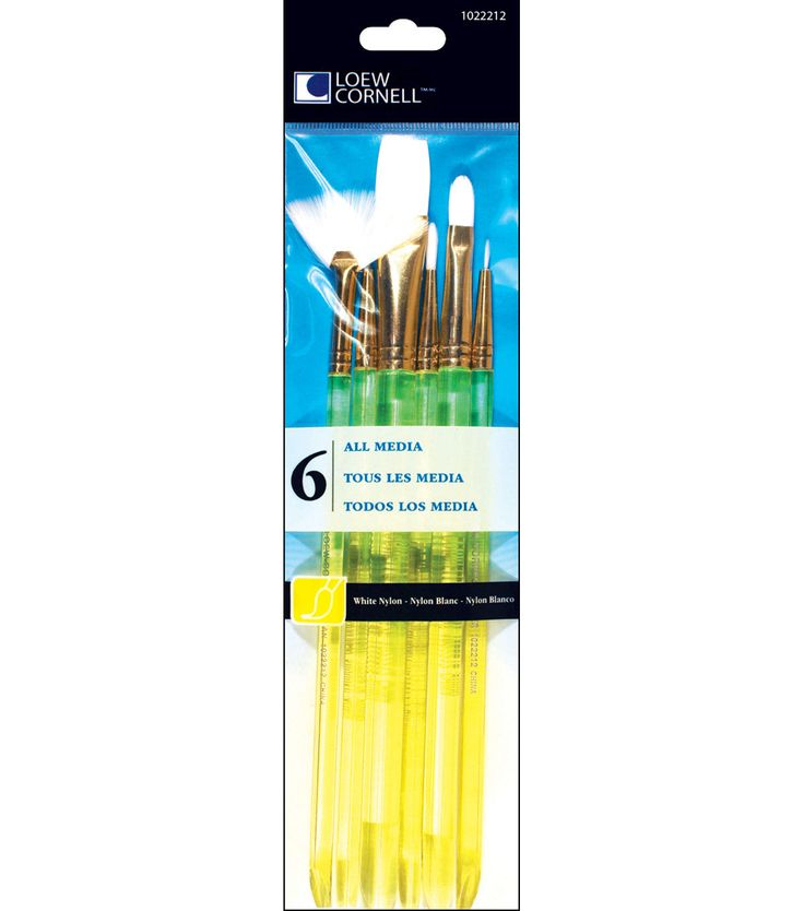 White Nylon Craft Brush Set - 6/Pk