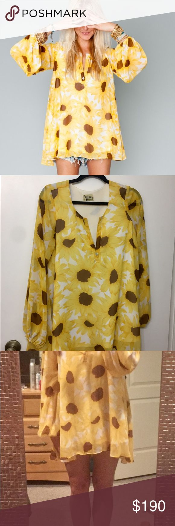 Sunflower Club Jamie Tunic 🌻 Size Medium - selling because I have too much in this print! 🌻 EUC no snags, runs, etc. 🌻 Lined 🌻 Can be worn as a top or dress - I am 5'4 and wore as a dress 🌻 Will consider trading for the following prints only: Mint Poppi (Romper), Mai Tai, Flowers in the Sky, Poppy Petal (cape or tunic), Woodstock Dip Dye USA (Tunic only), Lei Bay (Rascal Romper, Circus Mini or Hacienda Maxi), Bikini Barbie. Show Me Your MuMu Dresses