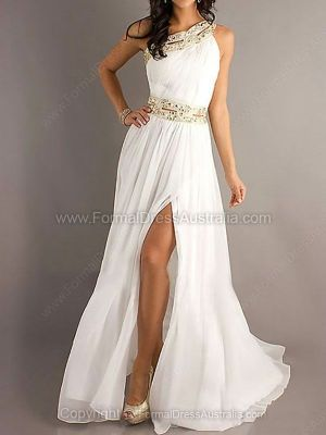 A-line Chiffon One Shoulder Split Front Floor-length Formal Dresses -AUD$176.69